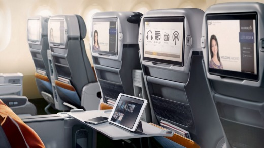 Premium economy on board Singapore's Airbus A350.