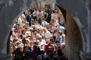Tourists queue to get out of the old walled city of Dubrovnik in Croatia.