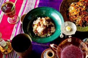 Afghan style rice, palaw (top right).