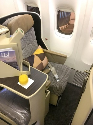 The Etihad 777 business class seat is not as good as the new Dreamliner version.