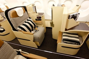 Every second business class seat is close to the aisle.