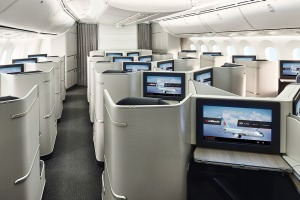 The seat, with an awkwardly-positioned foldable tray table inside a fetching white and grey cabin, is not going to ...