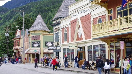 Downtown Skagway, which prospered during the Klondike Gold Rush.