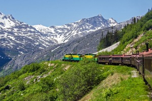 The scenic, narrow-gauge railway heading towards White Pass.