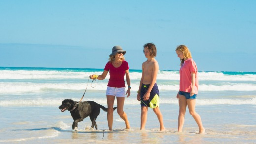 Visitors of the two-legged and four-legged variety can enjoy long beach walks when staying at Dongarra Tourist Park WA.