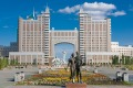 The Kay Munay Gaz building and the Bayterek monument, Astana.