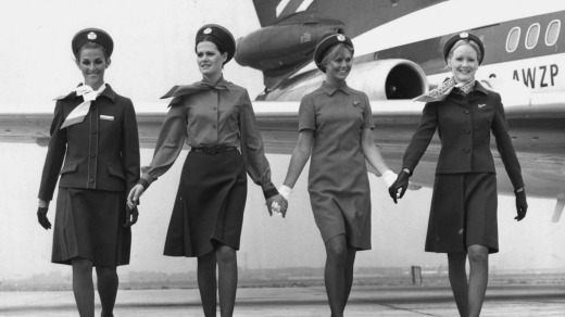 Flight attendants show off the new uniforms for British European Airways in 1972. The airline later merged with BOAC to ...
