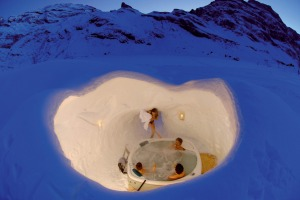 A night at the Igloo Village at Truebsee over Engelberg.