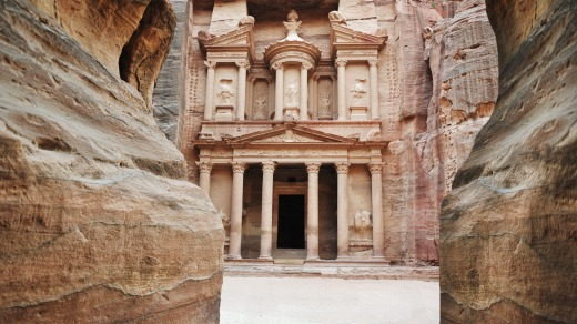 The imposing Monastery in Petra, Jordan.