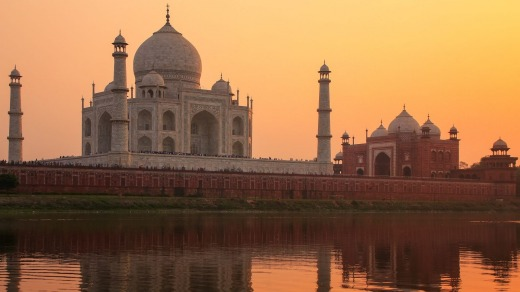 Taj Mahal sit nexts to the Yamuna river in Agra, India.