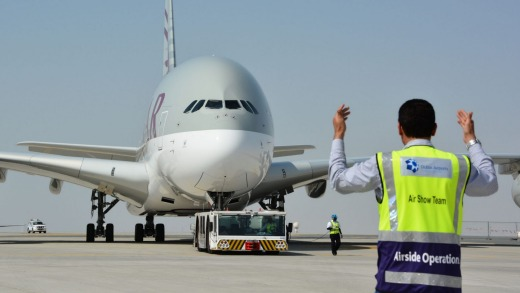 A Qatar Airways A380 superjumbo.