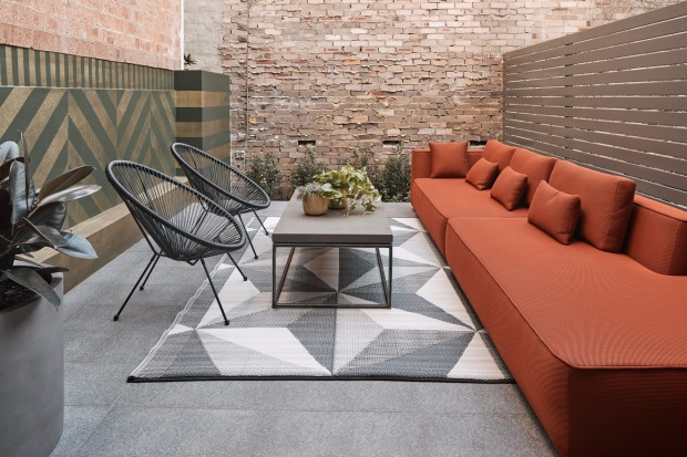 The Den by designer Willis Sheargold opens onto a terrace. The Collectionist, Camperdown.