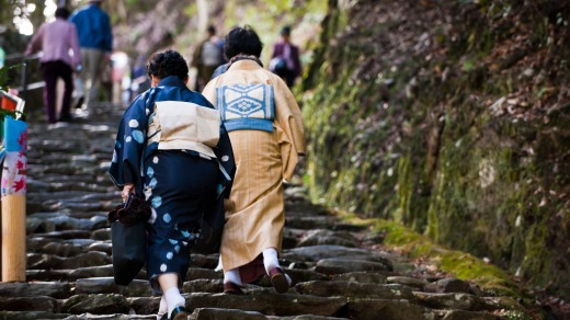 Heading up the mountain path: Mount Takao's Yakuoin Temple Visiting Path.