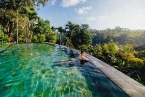 In Bali, you can take a dip surrounded by nature.