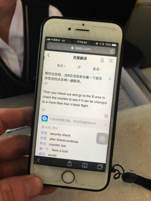"""""""How may I help you?"""" Communication had to be done through a translation app."""