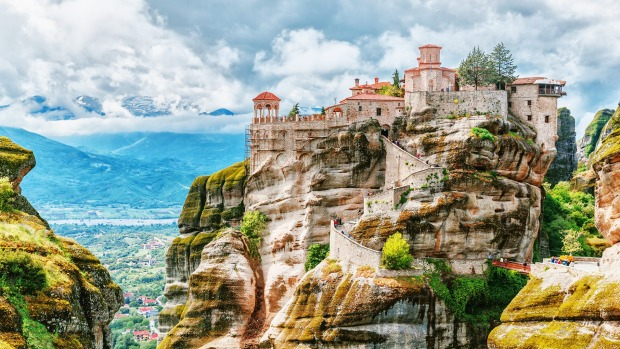 METEORA, GREECE The improbably located, gravity-defying World Heritage monasteries in northern Greece sit atop grey rock ...