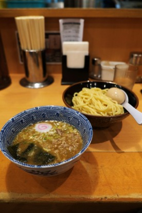 """The """"tsukumen"""" style ramen, where thick noodles are dipped in a rich pork-and-fish broth. It's absolutely delicious, and ..."""