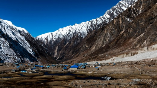 After the earthquake in 2015 Langtang, Langtang Valley.