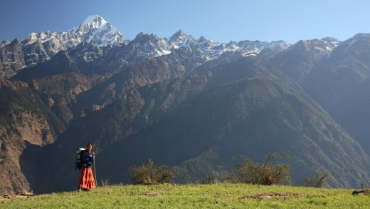 A Trekker on the Tamang Heritage Trail.
