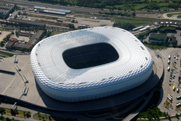 ALLIANZ ARENA, MUNICH: Officially this football stadium, home to Bayern Munich, is covered in rhomboidal inflated ...