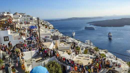 The Greek island of Santorini has put a daily limit on the number of people who can disembark from cruise ships.