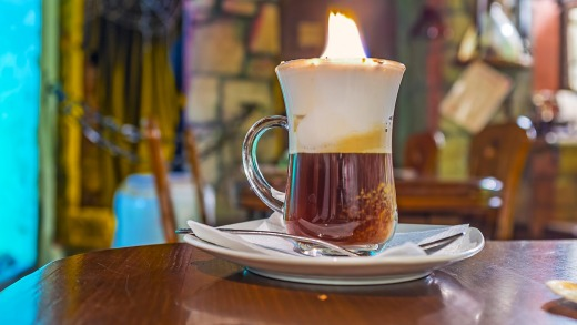 Burning coffee is one of the unique beverages you can get in Lviv.