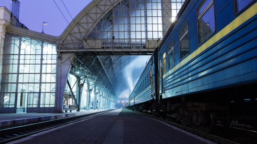 Lviv train station in Ukraine.