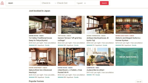 Almost 80 per cent of Airbnb's listings in Japan have been removed ahead of new laws coming into effect.
