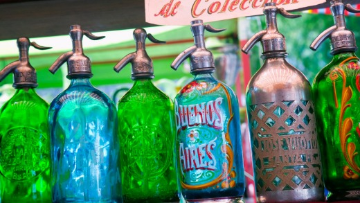 Soda syphons for sale at the San Telmo market in Plaza Dorrego.
