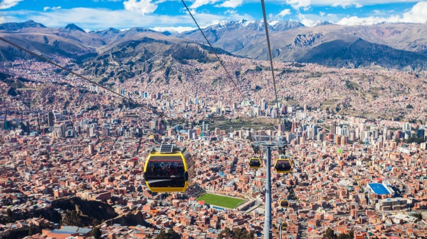World's highest and longest cable car: La Paz, Bolivia.
