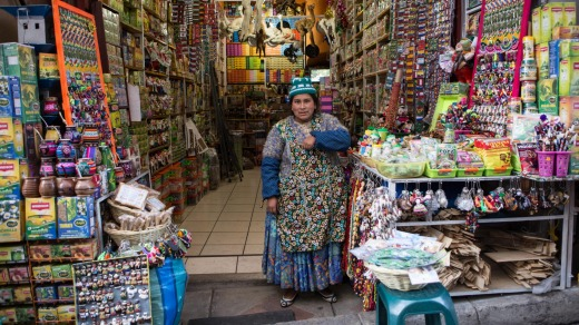 Cholita in the witches market, La Paz.