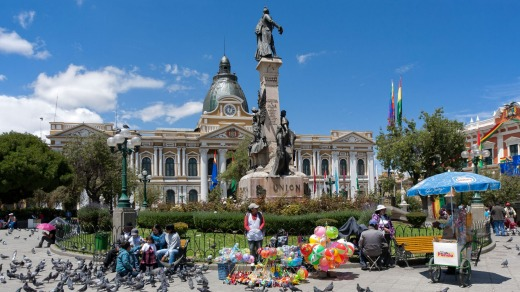 Plaza Murillo and National Congress in La Paz.
