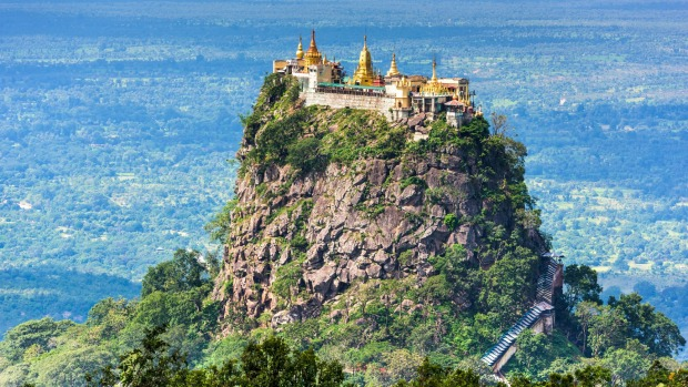 MT POPA, MYANMAR Dodge aggressive monkeys and clamber up 777 poop-slick steps and your reward is a petite, golden-spired ...