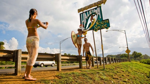 A popular spot for a pic: The Haleiwa town sign.