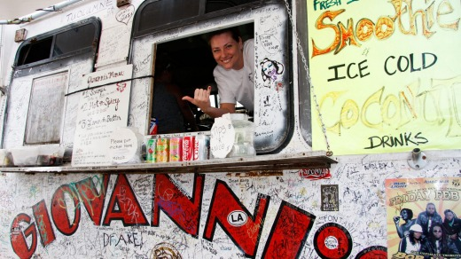 Giovanni's white van is the oldest and one of the best known shrimp trucks on Oahu.