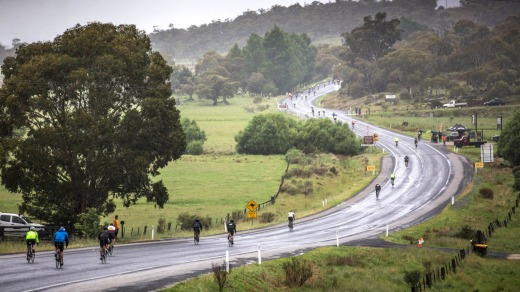 Riders battle wet conditions in 2017's event.