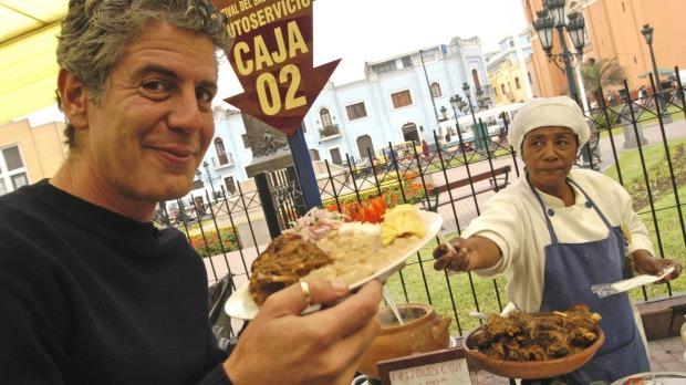 Anthony Bourdain in Lima filming the No Reservations series.