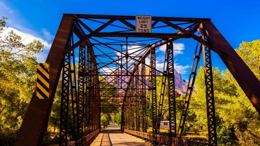 Bridge over the Virgin River, near Rockville, Utah.