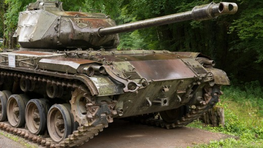An American M41 Walker Bulldog at the Four-a-Chaux site of the Maginot Line at Lembach, Alsace.