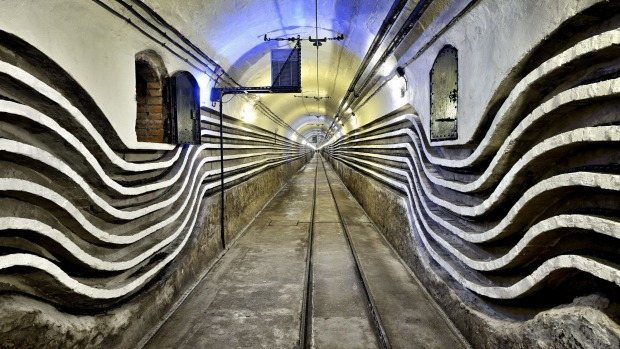 A gallery beneath Schoenenbourg fortress, part of the Maginot Line.