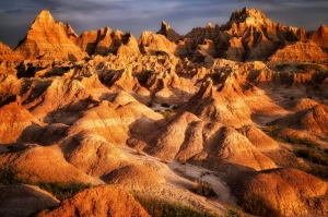 Eroded rock formations in Badlands National Park, South Dakota.