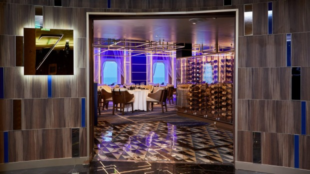 The specialty steakhouse Prime 7 now features stylish structural lighting and a rich cream-and-blue colour scheme.