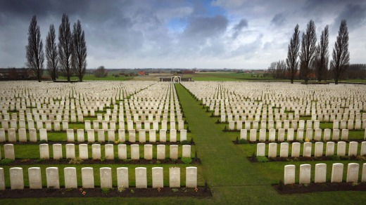 Tyne Cot Cemetery near Passchendaele, Belgium, is the largest Commonwealth War Graves cemetery in the world.