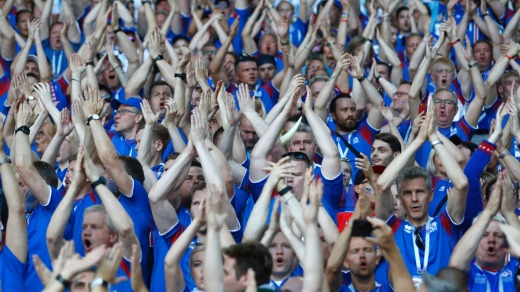 Iceland fans perform their famous 'hu'-chant prior to the group D match between Argentina and Iceland at the 2018 soccer ...
