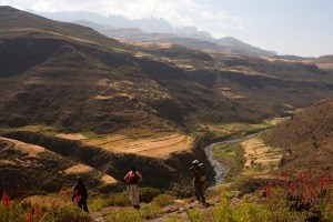 Hikers above the Mesheba valley in the Simien Mountains.