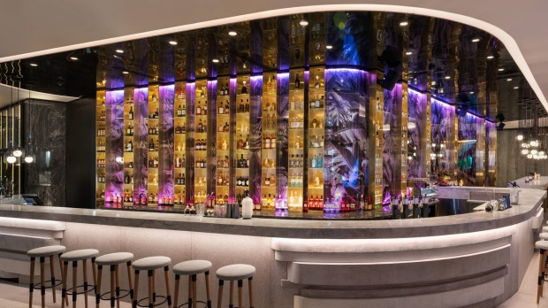 Benchtops and bar fronts at W Hotel Brisbane are inspired by the shapes of nearby clifftops.