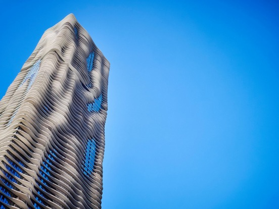 AQUA TOWER, CHICAGO: This looks like the ghost of a building, or a tower built from ice that's about to melt and ...