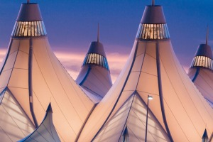 The glowing tents of Denver International Airport at sunrise.