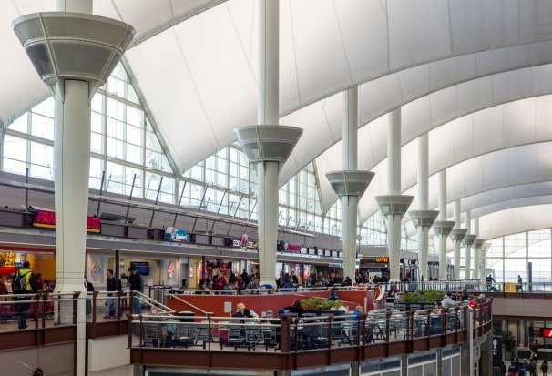 JEPPESEN TERMINAL, DENVER: Denver airport's Jeppesen Terminal features pitched roofs that recall the peaks of the ...