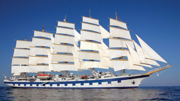 Royal Clipper sailing the Mediterranean.